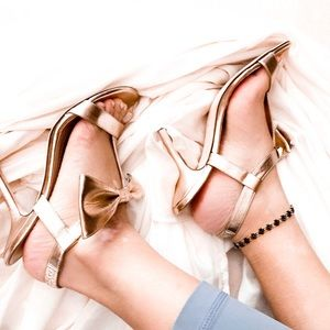 Kate Spade Gold Strappy Bow Heels